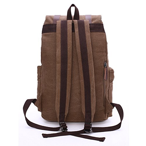 E-Bestar Unisex Rucksack Canvas Reise Rucksack Damen Retro Canvas Wanderrucksack Vintage Rucksack Retro Backpack Uni Rucksack (Schwarz) Kaffee