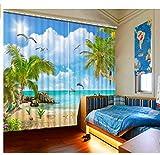 MSCLY 3D Landschaft Vorhänge Blauer Himmel Weiße Wolken Kokospalme Delphine Wohnkultur Wohnzimmer Schlafzimmer Küche Benutzerdefinierte 3D Vorhänge H200Xw240Cm