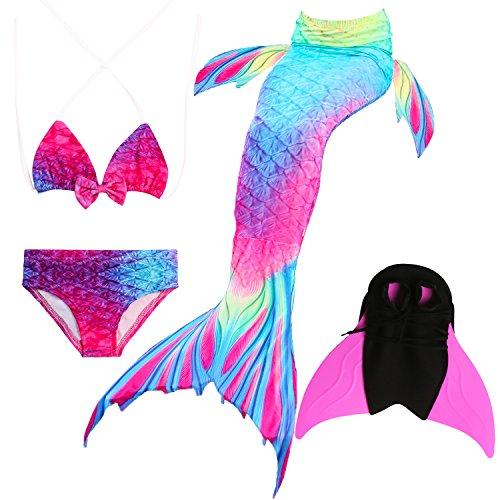 Das beste Mädchen Bikini Badeanzüge Schönere Meerjungfrauenschwanz Zum Schwimmen mit Meerjungfrau Flosse Schwimmen Kostüm Schwanzflosse - Ein Mädchentraum- Gr. 110, Farbe: A02(2)