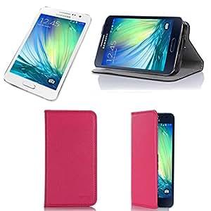 Custodia pelle ultra slim per Samsung Galaxy A3(LTE/4G) Cover Rosa Cover con Supporto–Accessori Custodia Galaxy A3Duos/Dual SIM Flip Case Custodia protettiva (pelle, Pink)–XEPTIO accessori 2014/2015