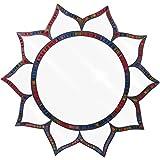 Something Different Große Mosaik Handgefertigt Buntes Glas Spectrum Lotus Design Wand montiert Spiegel 54cm, blau, violett, pink, rot Spectrum