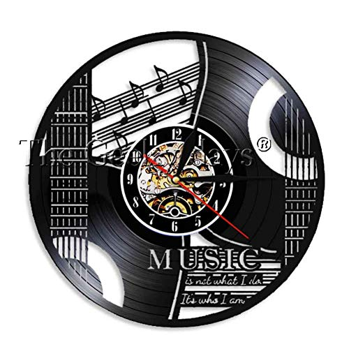 YLNEW Muisc Ist Die Stimme In Der Seele Musikalisches Zitat Wanduhr Gitarre Schallplatte Wanduhr Musik Meditationen Dekorative Uhr Uhr (Halloween 2 Film Zitate)