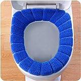Xshuai Housse pour abattant WC en velours Motif citrouille Corail, bleu, Size: 29cm in diameter