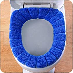 Xshuai Toilet Lid Cover Comfortable Velvet Coral Toilet Seat Cover Standard Pumpkin Pattern Cushion (Blue)