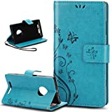 Nokia Lumia 830 Case,Nokia Lumia 830 Wallet Case,ikasus Embossing Butterfly Flower PU Leather Fold Wallet Pouch Case Premium Leather Wallet Flip Stand Credit Card ID Holders Case Cover for Nokia Lumia 830,Blue