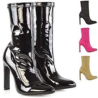 ESSEX GLAM Womens Block High Heel Ankle Boots Ladies Pull On Stretch Pointed Toe Calf Sock Booties Shoes Size 3-8 11
