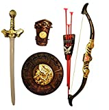 HALO NATION® Thugs of Hindustan Warrior Set - Knights Fancy Dress Kids Cosplay - Kings Sword, Sheild, Bow & 3 Arrows & a Hand Armour
