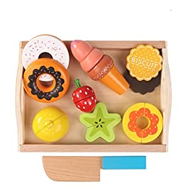 Giocattolo Frutta e Verdura,Gioco da tavolo in legno Giocattolo da cucina Tagliare cibo Pretend Gioca a giocattoli educativi per bambini, Cucina Giocattolo