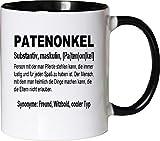 Mister Merchandise Kaffeebecher Tasse Patenonkel Definition Geburt Pate Bruder Schwester Freund Teetasse Becher Weiß-Schwarz
