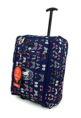 Super Lightweight Cabin Approved Luggage Travel Wheelie Bag suitcase Trolley Cabin Approved Case 50x40x20 Easyjet Ryanair (Dark blue butterfly)