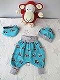 Babyset Pumphose, Mütze und Halstuch blau/grau Baufahrzeuge 1-4 Monat (56-68)