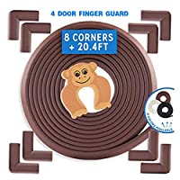 Baby Proofing Edge & Corner Guards | Safe Edge & Corner Cushion | Child Safety Furniture Bumper | Table Protectors | Pre-Taped Corners [ 20ft Edge + 8 Corners + 4 Door Pinch Guard ]