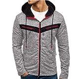 WRWYOSF Reißverschluss Kapuzenpullover Hooded Sweatjacke Pullover Wintermantel Coat Herren Männer Mode Colorblock Hoodie Sweatshirt Mäntel Trend Streetwear Kapuzenjacke Sportwear