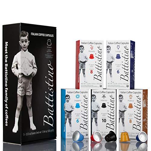 BATTISTINO DEGUSTAZIONE - 100 capsule compatibili Nespresso®* - ARABICA, INTENSO, RISTRETTO, LEGGERO, LUNGO - Torrefazione Caffè Michele Battista