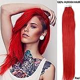 SHINING STYLE Tape in/on Extensions - Echthaar für Haarverlängerung 45cm 20 Tressen Farbe: Rot