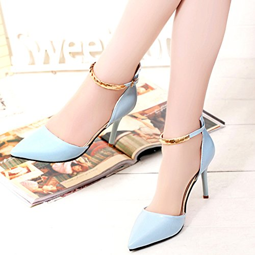 Minetom Damen Mode Knöchel Gurt Stilettos Spitz Zehe Schuhe High Heel Sandalen Blau