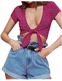 Yeamile���� Camiseta de Mujer Tops Suelto Blusa Causal Camisetas Ocasionales Camiseta Roja de Manga Corta Blusa con Lunares Impreso Tops de las Mujeres (Rojo, XL)