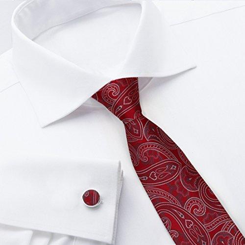 YA-BC-B.01 Hochzeitsfest-Paisley-Jacquardwebstuhl-Silk Krawatten für Verbindung Durch Y & G Rot - YABB0013-Red,Grey