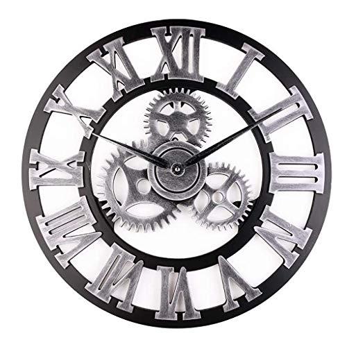 Amayay Getriebe Wanduhr 3D Retro Vintage Digitales Wohnzimmer Metall Uhr Kunst Einfacher Stil Uhr Genaue Sweep Bewegung A 30X30Cm(12X12Inch) (Color : B, Size : 40X40(16X16)) -