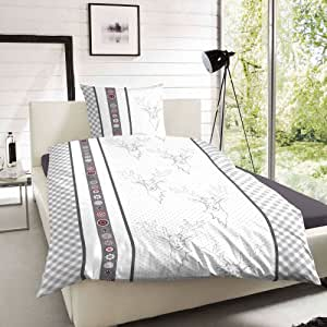 keno kent edelflanell bettw sche hirsch grau 155x220 cm. Black Bedroom Furniture Sets. Home Design Ideas