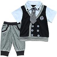 iiniim 2pcs bambino Gentleman T-shirt e short Pantaloni vestiti Set Outfit Preppy costumi