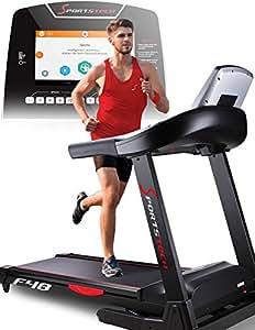 Sportstech Tapis de course professionnel F48 10,1 pouces, compatible avec Android avec support tablette, Wifi, 7,75 CV, 20 km/h, ceinture cardio incluse, 20 programmes, appareil pliable et silencieux