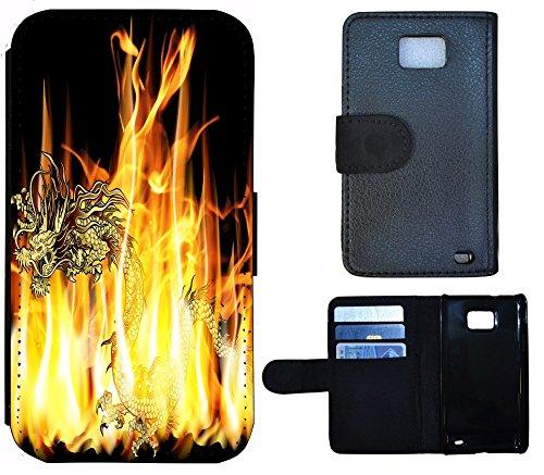 Schutz Hülle Flip Cover Handy Tasche Etui Case für (Apple iPhone 6 / 6s, 1271 Hund Dick Welpe) 1276 Drache Dragon Feuer Gelb Schwarz