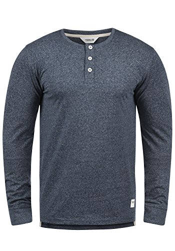 SOLID Espen Herren Longsleeve Langarm-Shirt mit Grandad-Ausschnitt aus 100% Baumwolle Meliert Slim Fit , Größe:XL, Farbe:Insignia Blue Melange (8991)