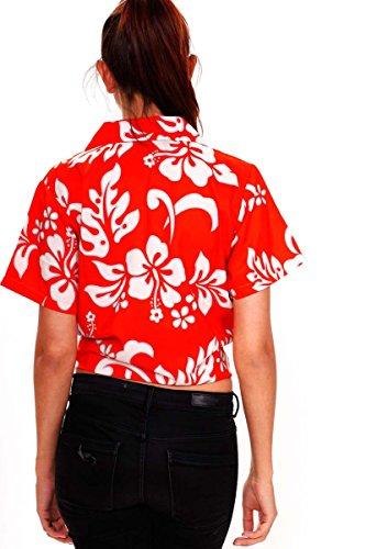 V.H.O. Funky Hawaiibluse Hawaiihemd | Damen | Kurzarm | Front-Tasche | Hawaii-Print | Blumen Hibiskus Blätter Orange