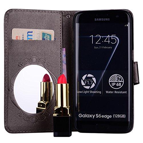 Surakey Coque Galaxy S6 Edge,Fleur de Papillon Motif Cristal Glitter Strass PU Cuir Case à rabat Coque Portefeuille Housse Flip Wallet Case Magnétique Étui pour Samsung Galaxy S6 Edge, Gris Foncé