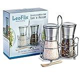 Premium Gewürzmühlen Set von LeoFlix - Salz- und Pfeffermühle inklusive Halterung und Bambuslöffel - Erhält die aromatische Frische