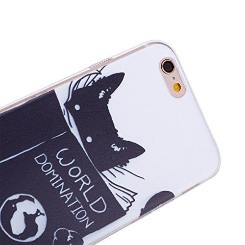 iPhone 6S Hülle,iPhone 6 Flexible Gel TPU Case,Ekakashop Ultra Dünn Modisch Durchsichtig Clear Lila Kugel Muster Weiche Silikon TPU Motiv Transparent Crystal Klar Case Schutzhülle Defender Bumper mit  Dunkle Katze