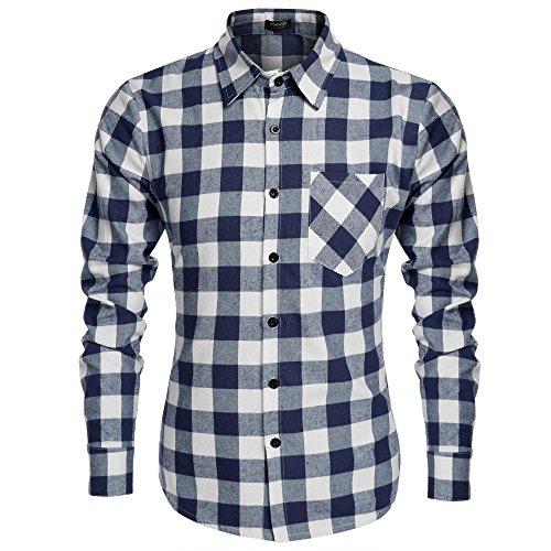 Coofandy Herren Hemd Langarm Kariert Freizeit Hemd Baumwolle Button-down (M, Blau und weiß) (Hemd Baumwoll Button-down)