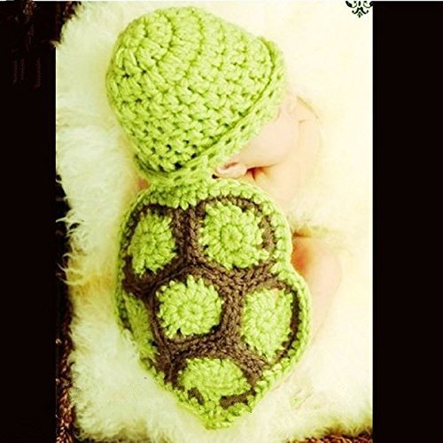 (Green turtle) - Turtle, Newborn Baby Girl Boy Crochet Knit Costume Photo Photography Prop Hats Outfits