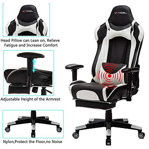 EVANCEL Gaming Stuhl in E-Sports Racing Style Massage Teillenkissen Computerstuhl Ergonomisches Design schwenkbarer mit Verstellbaren Armlehnen und Fußstütze, Wippfunktion mit PU Leder (Weiß)