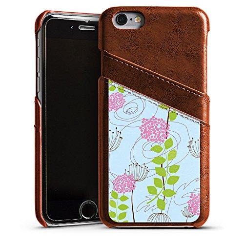 Apple iPhone 6 Housse Étui Silicone Coque Protection Fleurs Fleurs Motif Étui en cuir marron