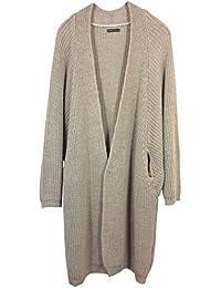 Damen Strickjacke aus hochwertigem Alpaka/Wolle-Mix, langer Grobstrick Cardigan , vorne offen, MADE IN ITALY