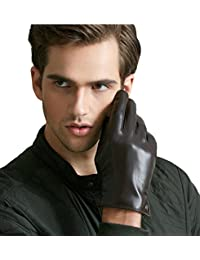 QGhappy hombre Winter Warm Touchscreen piel de cordero Conducción guantes de cuero (forro de cachemira)