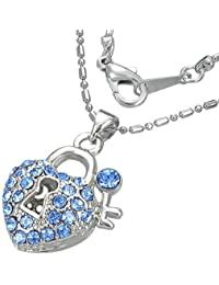 Mode Kristall Liebe Herz Vorhängeschloss Schlüssel Charm Halskette mit Schmucksteinen - Blau