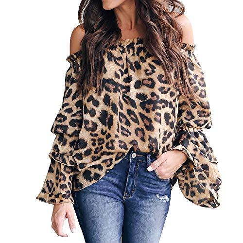 XNBZW Tops Womens Off The Shoulder Leopard Print Flare Sleeve Long Sleeve Blouse Casual Leopar Printed Blouse Shirt Top Tan Gold Flare