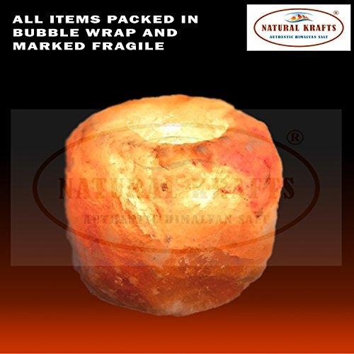 Natural krafts supporto per candele di sale in cristallo di rocca dell'himalaya naturale con luce lenitiva | articolo regalo ideale | confezione da 1 pezzo