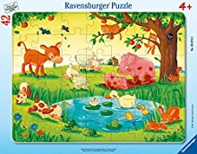 Ravensburger Kinderpuzzle- Kleine Tierfreunde Puzzle con Cornice da 30-48 Pezzi, Colore Marrone, 05075