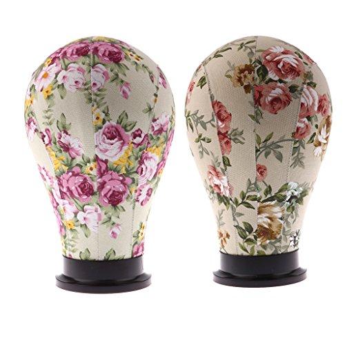 Sharplace Lot 2pcs Tête de Mannequin Florale Tête de Bloc Modèle Support Stand de Perruque Bijoux Casquette Lunettes 24\