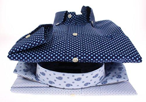 778681 - Bots & Bots - Exclusive Collection - Chemise Homme - 100% Coton - Micro Print - Button Down - Normal Fit Bleu / Blanc