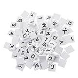 Scrabble-Holzspielsteine, lackierte Steine, für Gesellschaftsspiele, Bastelarbeiten oder Schmuckherstellung, 100Stück weiß