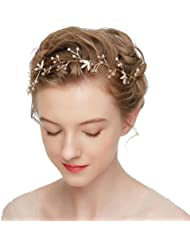 Ladies Hair Accessories Bridal Wedding Hair Crest Rhinestone Wedding Crown Bridal Tiara Rhinestone Pearls Hairband Wedding Floral Hair Clips Flower Headband Wedding Bridal Hair Band Rhinestone HWMD20