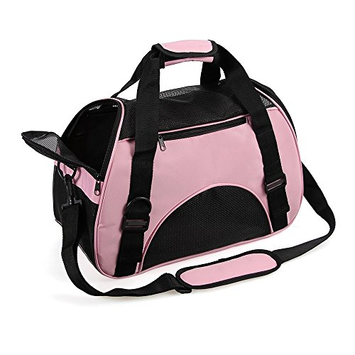 Pet Travel Carrier - Small Pet Carrier for Cats and Dogs Fabric Pet Carrier Airline Approved Carrier Bags for Puppy and Kitty IATA Approved Cat Carry Case Dog Carrier Load up to 3.5 KG Pink Test