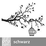 Baum mit Vögeln und Käfig Wandtattoo 146cm x 115cm, XXL, 070 schwarz