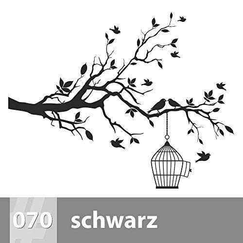 Käfig Schwarzer Vogel (Baum mit Vögeln und Käfig Wandtattoo 115cm x 90cm, XL, 070 schwarz)