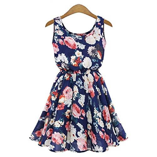calistous Big Snow dreht Qualität Elegante Blumen Frauen Big Blume gedruckt Chiffon Blusen Kleid Weiß & M, blau, Navy Blue & XL -